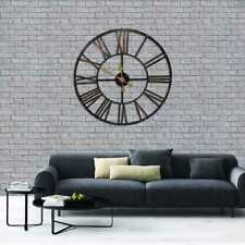 78cm Large Vintage Metal Wall Clock Indoor Outdoor Roman Numeral Black Clock