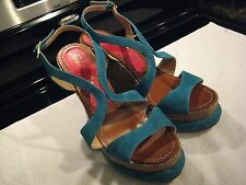 Paloma Barcelo Gently Worn Aqua Suede Women's Wedges Size 9.5 Leather Shoes