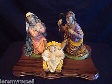 Vintage Sears Nativity Set #97567 4 Pieces Wood Base w/ Box - Made in Italy
