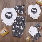 3pcs Kids Reindeer Tops Romper + Pants Set Outfits Set Baby Boy Girl Tracksuit