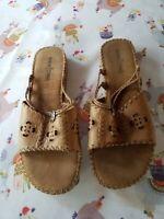 Minnetonka Slide Sandals Slip On Brown Tan Leather Suede Lightweight Size 9