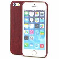 Apple iPhone 5 / 5s / SE TPU Handy Hülle Holz Optik Schutz Case Mahagoni Cover