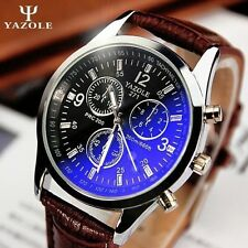 YAZOLE Mens Business Faux Leather Strap Blue Ray Glass Analog Quartz Wrist Watch