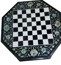 "18"" black marble chess Table Top pietra dura art handcrafted decor"