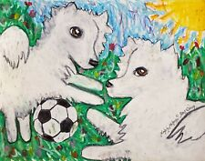 American Eskimo Dog 13 x 19 Art Print Collectible Signed by Artist Ksams Soccer