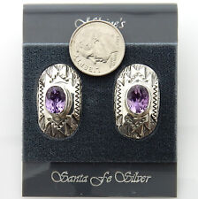 Native American Silver Purple Amethyst Handmade Post Earrings
