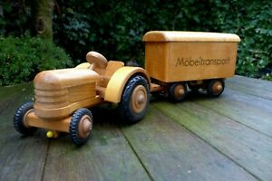 Vintage wooden toy tractor with trailer Made by FWF East Germany Collector Rare