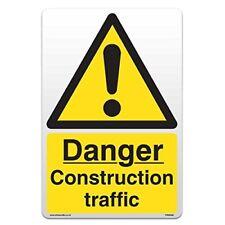 Danger Construction Traffic - Self Adhesive Vinyl Sticker [A4 - 210mm x 297mm]