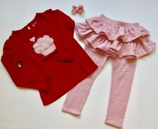 Baby Gap TG Valentines Red Cup Cake Graphic Top & Pink Ruffle Skirt Outfit 5T 4T