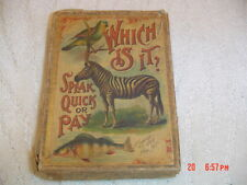 MCLOUGHLIN BROS 1889 GAME OF - WHICH IS IT? SPEAK QUICK OR PAY - 52 animal cards