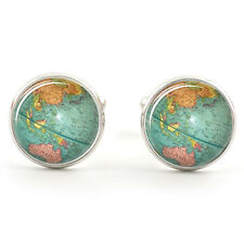 GLOBE MAP OF THE WORLD CUFFLINKS SILVER PLATED + FREE GIFT BOX  & 1ST CLASS POST