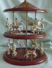 Lenox Princeton Gallery 2 Tier Wood Carousel & 12 Birthstone Horses 1993-5