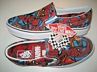 Vans x Marvel Spider Man Classic Slip on Mens Black Canvas Skate shoes Size 10