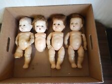 """Vintage Lot 4 12.5"""" Amer. Char. Tiny Tears Rubber Dolls in Poor Cond. For Parts"""