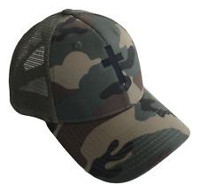 Christian Cross Mid Profile Mesh Trucker Cap Caps Hat Woodland Camouflage Black