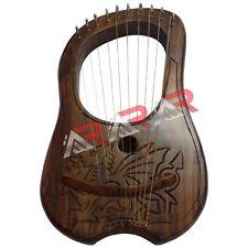 Lyre Harp 10 Metal Strings Rosewood Welsh Dragon Free Bag + Tuning Key New AAR