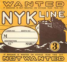 NYK STEAMSHP Line ~JAPAN~ 日本郵船株式会社  Spectacular ART DECO Luggage Label, 1935