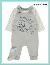 Disney Baby Boys Dumbo Clothes Character Dungaree & Bodysuit Outfit BNWT