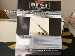 Jeff Bagwell HOF Inscribed Bat Redemption From TriStar ASTROS!!