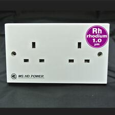 MS HD Power Rhodium plated UK Wall Socket - 2 Gang MS9296Rh DECO