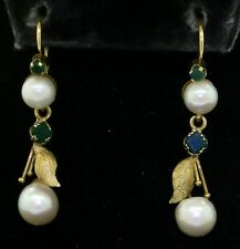 Antique 14K yellow gold 0.50CT emerald & pearl floral drop dangle earrings