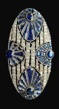 2.03ct NATURAL ROUND DIAMOND 14K SOLID WHITE GOLD BLUE SAPPHIRE GEMSTONE BROOCH