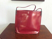 Furla women's patent leather authentic shoulder bag purse Red made in Italy