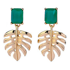 Fashion 18K Gold Plated Leaf with Emerald Green Resin Square Stud Drop Earrings