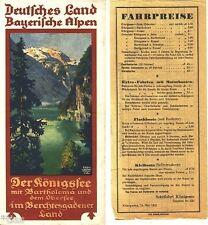 Deutsches Land Bayerische Alpen Prospekt Bayern Königssee-Schiff Fahrplan 1931