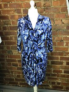 Wallis Blue Stretch 3/4 Sleeve Faux Wrap Dress - Size 14 - Work Occasion