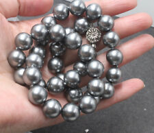 Stunning  Delicate 12mm dark grey southsea Shells Pearl Necklace 20""