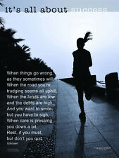 Women's Running IT'S ALL ABOUT SUCCESS Motivational Inspirational Poster