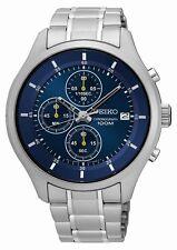 Seiko Herrenuhr Uhr Chrono Chronograph Edelstahl Datum Blau SKS537P1