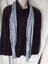 BNWT Ralph Lauren Polo Collection Blue & White Gingham Check Cotton LONG SCARF