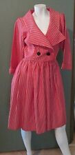 Vtg '90s Yves Saint Laurent Rive Gauche  Red Pinstripe Dress Size 40 US 8 / 10