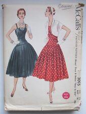 Vintage 1950s McCall's 3095 Dress and Bolero Sewing Pattern Full Skirt B30