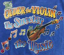 Vintage Mens M 80s Older Violin Sweeter Music Funny Iron On Transfer T-Shirt