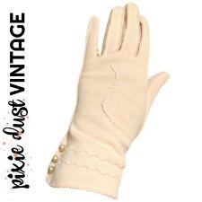 Vintage Gloves Pink Antique Blush Pearls 1940s 40s 50s 1950s Retro