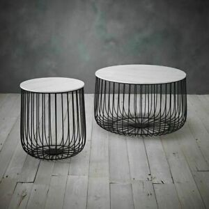WHITE MARBLE EFFECT TOP BLACK ROUND STORAGE BASKET COFFEE END SIDE LAMP TABLE