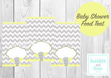 Baby Shower, Yellow Elephant, Food Labels, Name, Tent Cards, Decoration.