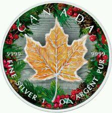 CANADA 2016 MAPLE LEAF WINTER 1 Oz SILVER COLOR COLORED MINTAGE 100 PCS COA BOX.