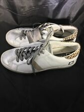 D.A.T.E. Low Hill White Leather Silver Leopard Trim Athletic Shoes 9.5/8/41 EU