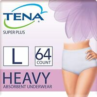 Super Plus Absorbency, Tena Incontinence Underwear for Women, Large, 64 Count