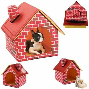 Indoor Dog House Kennel Bed Pet Soft Foldable Portable Travel Medium Breathable