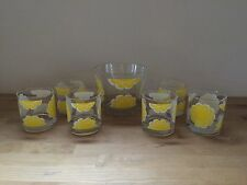 Vintage COLONY 6 Glasses & Ice Bucket Serving Set - Retro Yellow & White Flowers