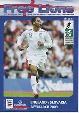 ENGLAND v SLOVAKIA ~28 MARCH  2009 ~ FREE LIONS SUPPORTERS' MAGAZINE NUMBER 90