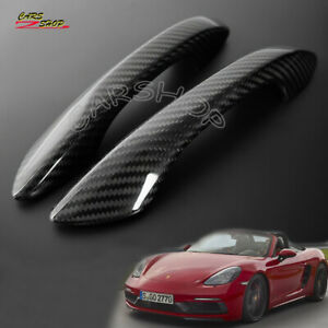 Real Carbon Fiber Door Handle Cover Trim For Porsche 718 Boxster Cayman 16-20