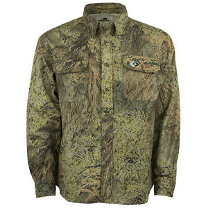 Cotton Mill Button Up Hunting Shirt for Men Camouflage Clothes Mossy Oak Camo