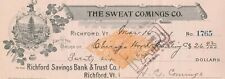 1901 THE SWEAT COMINGS CO. RICHFORD.  VERMONT, REVENUE STAMP & VIGNETTE