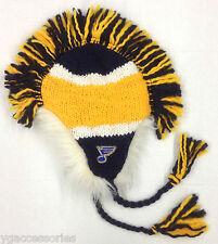 NHL St. Louis Blues Reebok Winter Knit Fleece Lined Fur Trim Mohawk Hat Cap NEW!